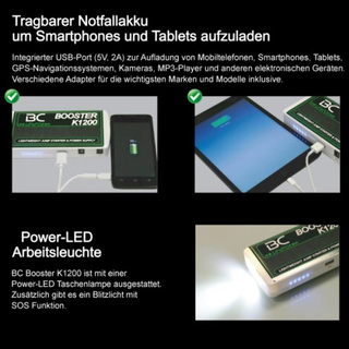 Booster Powerbank BC K1200 LiFePO4-Technologie 100% sicher, 400A
